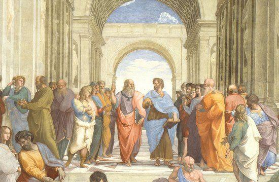 """Sławny Platon (na fresku Rafaela z uniesionym ku niebu palcem) zajmował się nie tylko filozofią, ale wynalazł również pierwszy budzik. Na ilustracji fragment fresku Rafaela Santiego """"Szkoła Ateńska""""."""