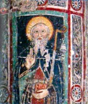 Średniowieczne malowidło przedstawiające św. Kolumbana.