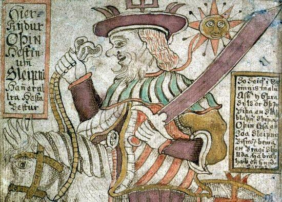 Wyobrażenie Wotana (Odyna) pochodzące z XVIII-wiecznego islandzkiego manuskryptu. To właśnie jemu mieszkańcy Bregenz składali ofiarę z piwa.