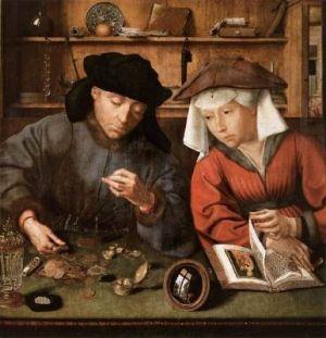 Ręczne lusterko na malowidle z początku XVI wieku.