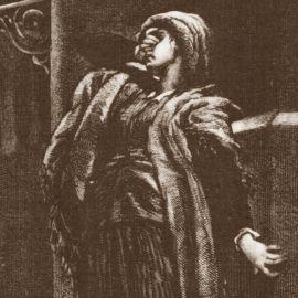 Zrozpaczona kobieta na rysunku M.E. Andriolliego z 1874 roku.