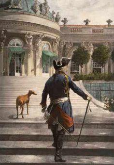 Fryderyk II tak kochał swoje charty, że kazał wieszać ich portrety w pałacowym korytarzu, którym codziennie chodził. Sam zresztą również był malowany z nieodłącznym psem.
