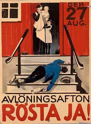 """""""Wieczór wypłaty. Głosuj na tak!"""" Szwedzki plakat namawiający do poparcia prohibicji w referendum"""