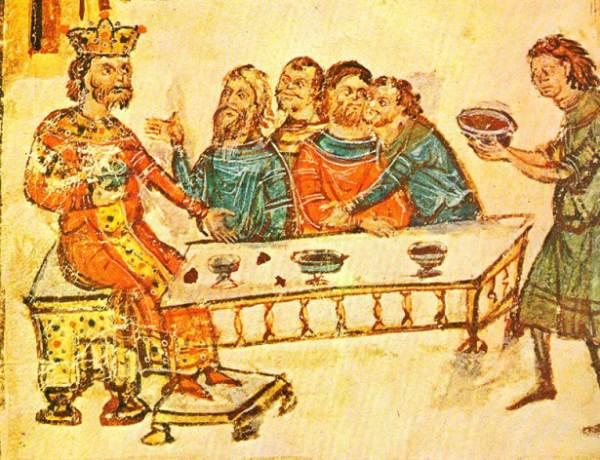Cesarz Krum i uczta po pokonaniu Nikefora. Według źródeł Chagan przepijał do współbiesiadników pucharem z czaszki władcy Bizancjum...