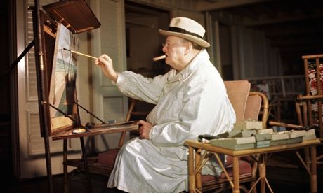 Winston przy sztalugach (źródło: the Guardian)