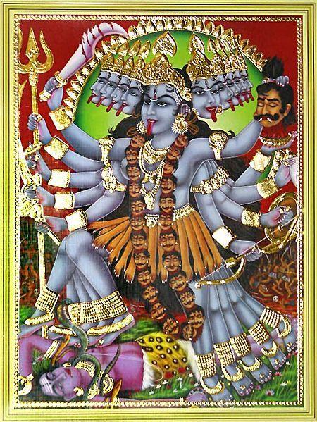 Kali wedle ikonografii preferowała odcinanie głów, a nie duszenie...