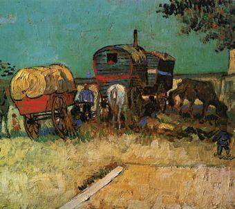 Obóz cygański na obrazie Van Gogha. Oczywiście z nieodłącznymi końmi.