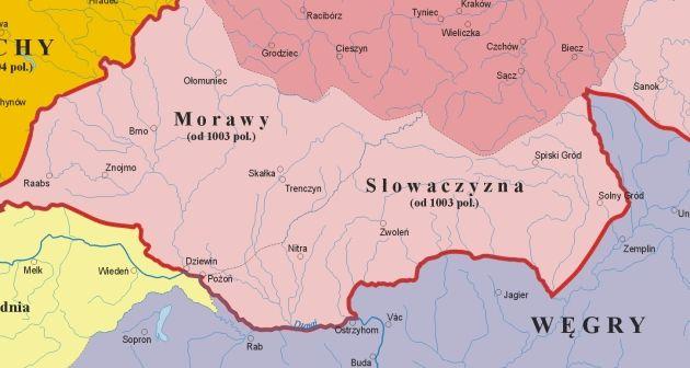 """Polska Słowacja (Słowaczyzna)? Jedna z wizji granic państwa Bolesława Chrobrego na południu (rys. Poznaniak, lic. CC ASA 3,0, na podstawie """"Ilustrowanego Atlasu Historii Polski"""")"""