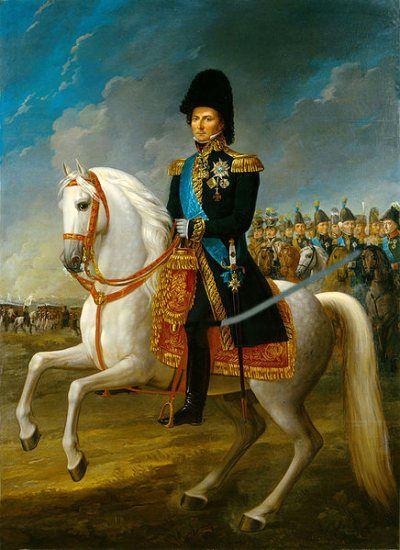 Król Szwecji Karol XIV Jan na czele armii ruszającej... przeciwko Francuzom.