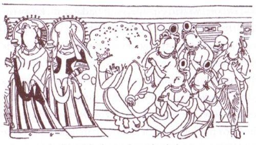 Fragmenty innego fresku z Kyzylu. Więcej przykładów znajdziecie w książce Aleksandry i Edwarda Kajdańskich.