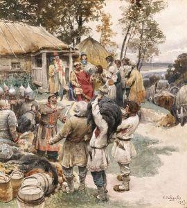 Kniaź IgorRurykowicz odbierający daninę od Drewlan. Szacując piętrzące się dobra nie spodziewał się, że jego koniec jest bliski.