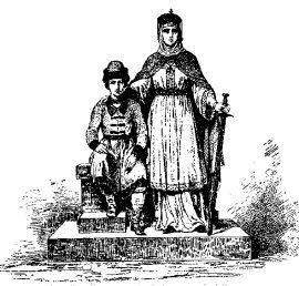 Olga wraz z synem Światosławem.