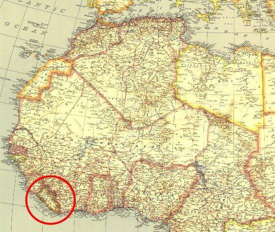 Liberia jest o... tutaj. Na mapie z 1935 roku.