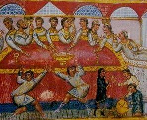 Bizantyjska uczta, a na stole miska z chlebem.