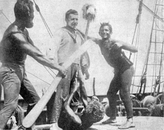 Tak chrzest równikowy wyglądał na pokładzie polskiego żaglowca Lwów. Można podejrzewać, że na Kormoranie było podobnie!
