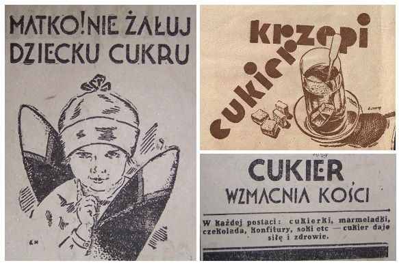 Reklamy cukru można było znaleźć niemal w każdym wydaniu dzienników, tygodników i miesięczników. Powyżej kilka przykładów przedwojennej szkoły reklamy.
