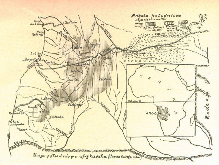 """Angola na kolejnej mapce - tym razem polskiej, z miesięcznika """"Morze"""" (nr 9-10, 1929)."""