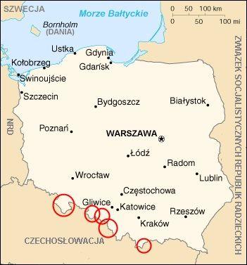 Wybrane ogniska konfliktu polsko-czechosłowackiego w 1945 roku.
