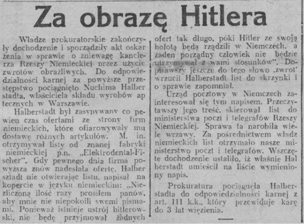 """Wycinek prasowy z gazety """"5 groszy. Dziennik Narodowy""""."""