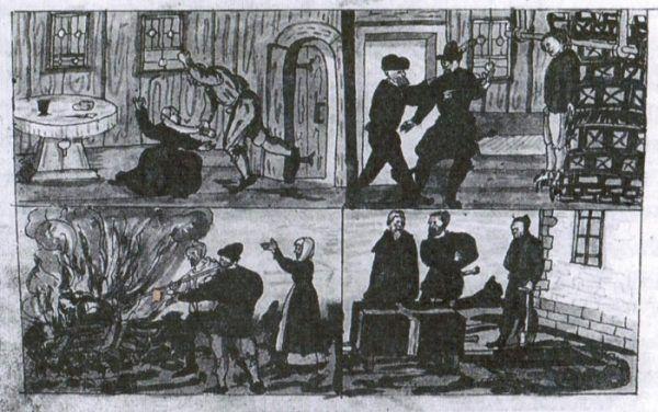 Samobójstwo na szwajcarskiej rycinie z XVI wiekuy. Mężczyzna zabił się na skutek nieudanego małżeństwa... co z nim zrobiono widać doskonale powyżej (fot. z książki Pawła Dumy).
