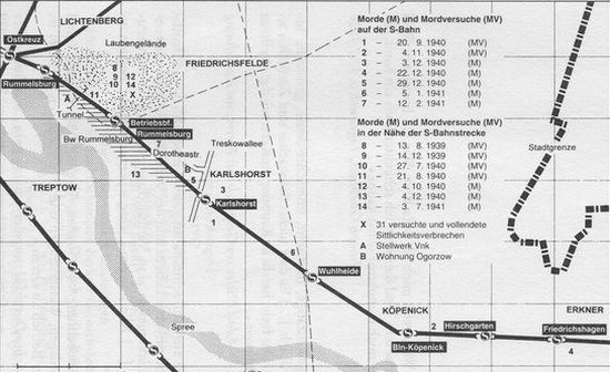 Plan dzielnic Berlina w których grasował morderca z naniesionymi miejscami jego ataków.