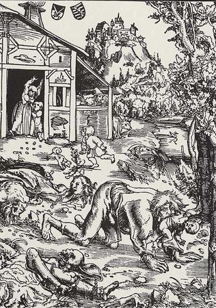 Jak widać tej XVI-wiecznej rycinie niemieckie wilkołaki porywały dzieci, tym podkarpackim kilkaset lat później wystarczały owce.
