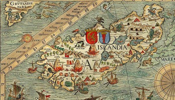 "Islandia na mapie ""Carta marina"" Olausa Magnusa."