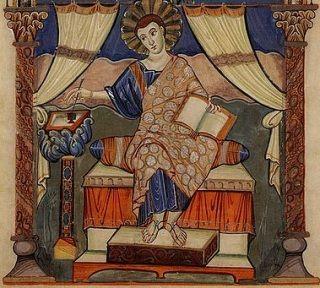 Miniatura z ewangeliarza z czasów Karola Wielkiego...