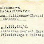 Projekt stworzenia miasta Tel-Pilsudski momentalnie wzbudził zainteresowanie polskiej placówki dyplomatycznej. Na zdjęciu nagłówek depeszy przekazanej do polskiego MSZ.