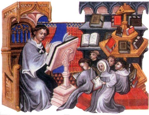 Pilna nauka w średniowiecznej szkole... To już ewidentnie schyłek epoki. W czasach Karola Wielkiego byłoby nie do pomyślenia, żeby każde dziecko trzymało własną księgę...