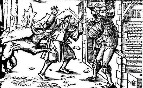 Dla mieszkańców wsi Myscowa wilkołak zapewne wyglądał jak ten z XVI-wiecznego drzeworytu (źródło: domena publiczna).