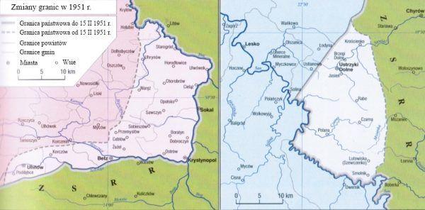 Bogate w węgiel kolano Bugu w zamian za skrawek Bieszczad... (mapa z książki: Witold Sienkiewicz, Polska od roku 1944, Demart 2011).