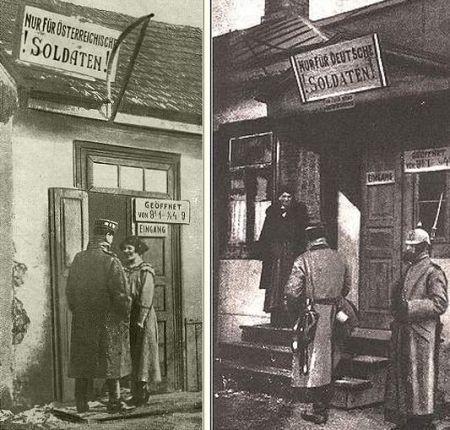 Oficjalne domy uciech dla żołnierzy: austriackich i niemieckich.