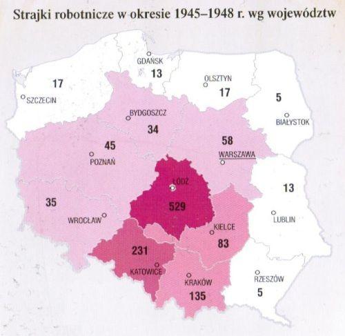 """Mapa z książki Witolda Sienkiewicza pt. """"Polska od roku 1944"""" (Demart 2011)."""
