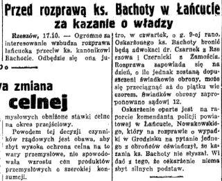 """""""Nowiny codzienne"""" donoszą o procesie w numerze z 18 października 1933."""