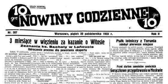 """Afera na całą Polskę! 20 października 1933 roku o sprawie księdza Bachoty warszawskie """"Nowiny Codzienne"""" pisały na pierwszej stronie."""