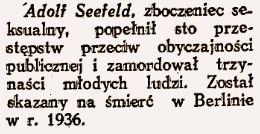 """Sława nie przemija! Polska prasa o Seefeldzie prawie dwa lata po procesie. """"Nowy Głos"""", 21 grudnia 1937."""