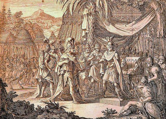 XVII-wieczny rysunek przedstawiający królową Amazonek Thalestris przybywającą z wizytą do Aleksandra Wielkiego. Czyżby i Mieszko I mógł liczyć na podobne zaszczyty?