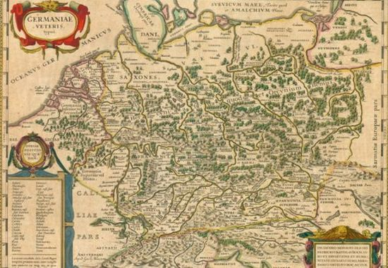 """XVII-wieczna mapa oparta na tekście """"Germanii"""" Tacyta. W tym dziele zaczytywali się niemieccy humaniści. Po kilku wiekach zafascynowało ono również piewców niemieckiej dominacji rasowej…"""