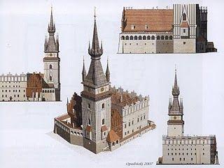 Ratusz w połowie XVII wieku. Rekonstrukcja wykonana przez Muzeum Historyczne Miasta Krakowa.