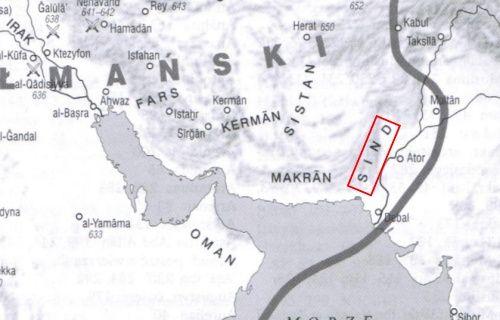 Sind na mapie wschodniej części Kalifatu Muzułmańskiego w 750 roku (fragment mapy z książki: Hugh Kennedy, Wielkie arabskie podboje, Wydawnictwo Naukowe PWN 2011).