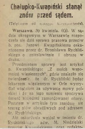 """O procesie wytoczonym Kwapińskiemu donosiły gazety w całej Polsce. Pisało o tym również lwowskie """"Słowo Polskie"""" w numerze z 2 maja 1931 r."""