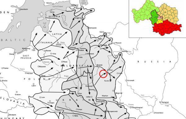 Przybliżone położenie Republiki Łokockiej na mapie operacji Barbarossa. W prawytm górnym roku dokładne granice republiki, usytuowanej pomiędzy Briańskiem, Kurskiem i Orłowem.