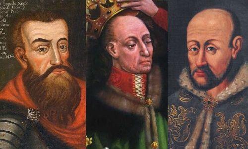 Kilka portretów Jagiełły. Jak widać jego ubiór wyobrażano sobie bardzo różnie, ale żadna z podobizn nie odzwierciedla wiernie tego, o czym mówią zachowane archiwalia.