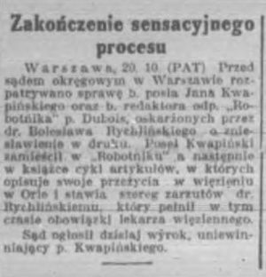 """""""Kurier Poznański"""" informuje o procesie."""