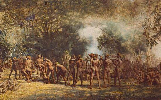 Uczta kanibali z wyspy Tanna. Obraz Charlesa E. Gordona Frazera.