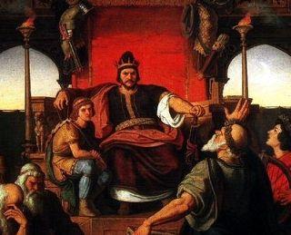 Bezlitosny Attyla na tronie według wyobrażenia Móra Thana (1870).