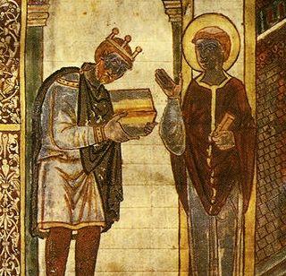 Miniatura zdobiąca jedną z dzieł Bedy - słynnego mnicha i uczonego żyjącego w czasach króla Ceolwulfa.