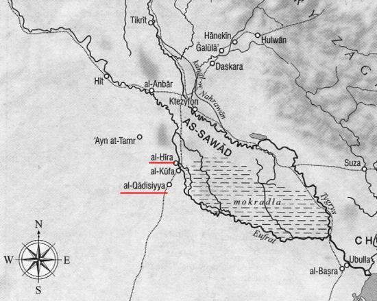Irak w okresie podbojów arabskich. Kolorem zaznaczono miejsca bitew (fragment mapy z książki: Hugh Kennedy, Wielkie arabskie podboje, Wydawnictwo Naukowe PWN 2011).