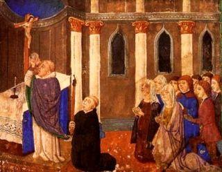 Msza w średniowiecznym kościele...